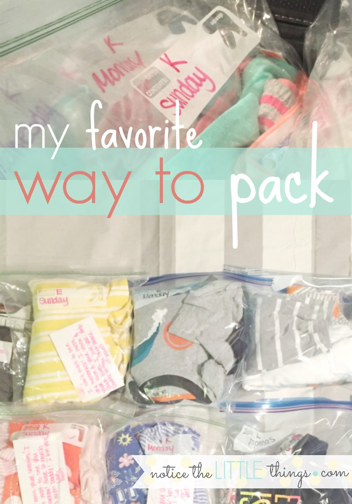 my absolute favorite way to pack for kids. it keeps our suitcases organized for the whole trip and eliminates arguments over clothes!
