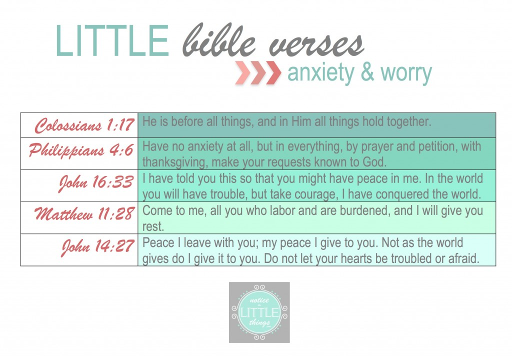 LITTLE bible verses anxiety & worry