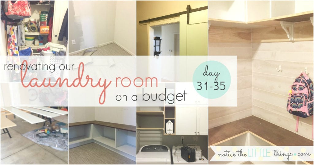 save thousands with these laundry room renovation tips perfect for pulling off a laundry room renovation on a budget. #noticethelittlethings #noticethelittlethingsdiy #laundryroomideas #mudroomideas #budgetfriendlyrenovation #farmhousestylelaundryroom #farmhousestylemudroom #laundryroombuiltins #laundryroomshoestorage #mudroombuiltins #mudroomshoestorage #shiplaplaundryroom #shiplapmudroom #laundryroomstorage #mudroomstorage #smallspacelaundryroom #smallspacemudroom