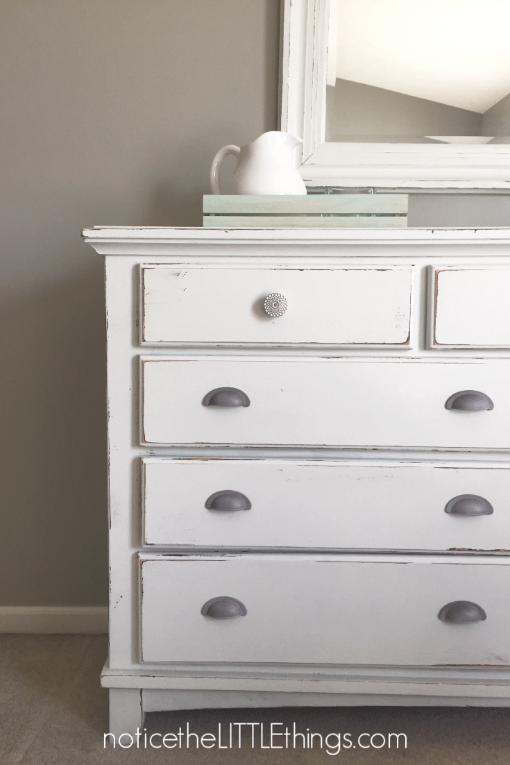 repainted dresser with spray painted hardware