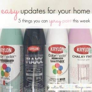 transform your home with these 5 easy spray paint projects. update your home on a budget! #noticethelittlethings #howtousespraypaint #spraypaintbasics #spraypaint #spraypaintingtips #favoritespraypaint #spraypaintprojects #easythingstospraypaint #bestspraypainttouse #easydecorupdates #paintingfurniture #diyfurniture #diyprojects #homeimprovementprojects #diyknobs #diydresserknobs #spraypaintcrafts