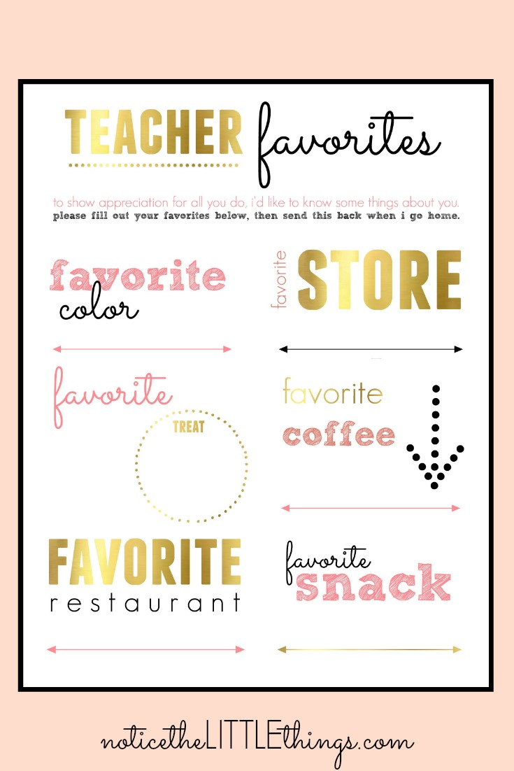 teacher favorites printable