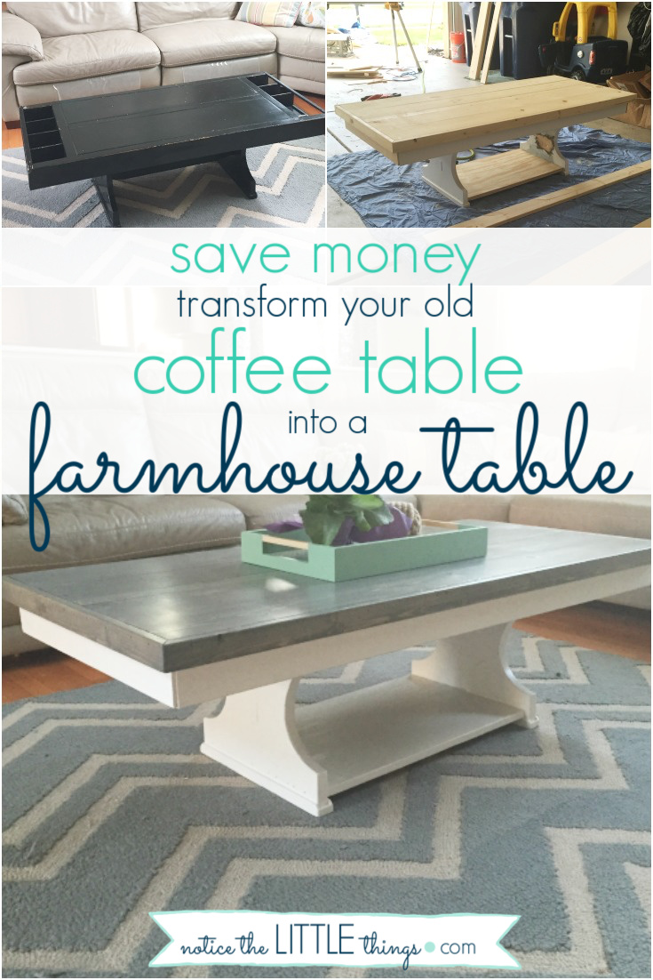 transform your old table into a beautiful farmhouse table, a step-by-step guide. plus, free printable paint and supply list to help you complete your project. #noticethelittlethings #noticethelittlethingsdiy #paintedfurniture #howtopaintfurniture #refinishingfurniture #farmhousetable #farmhousestyle #diytable #newtabletop #howtomakeafarmhousetable #diyfarmhousetable #coffeetable #freeprintable #paintguide
