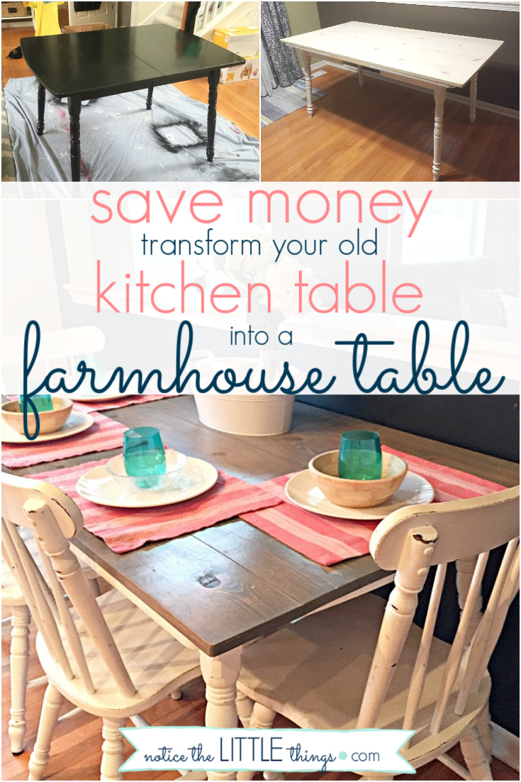 transform your old table into a beautiful farmhouse table, a step-by-step guide. plus, free printable paint and supply list to help you complete your project. #paintedfurniture #howtopaintfurniture #refinishingfurniture #farmhousetable #farmhousestyle #diytable #newtabletop #howtomakeafarmhousetable #diyfarmhousetable #kitchentable #paintingchairs #freeprintable #paintguide #paintedtable