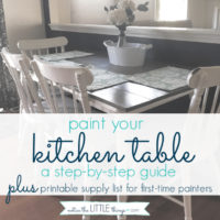 paint your kitchen table, a step-by-step guide. plus, free printable paint and supply list to help you complete your project. #paintedfurniture #howtopaintfurniture #refinishingfurniture #farmhousetable #farmhousestyle #diytable #newtabletop #howtomakeafarmhousetable #diyfarmhousetable #kitchentable #paintingchairs #freeprintable #paintguide #paintedtable