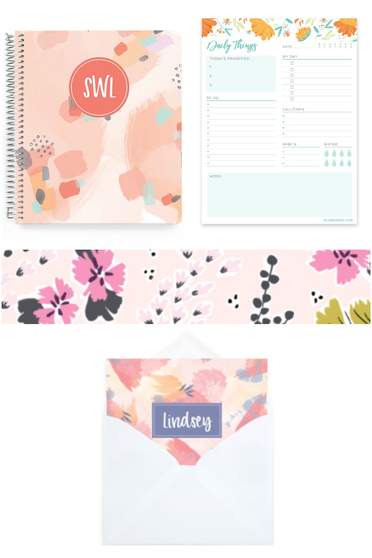 plum paper notebooks, notepads, and stationary