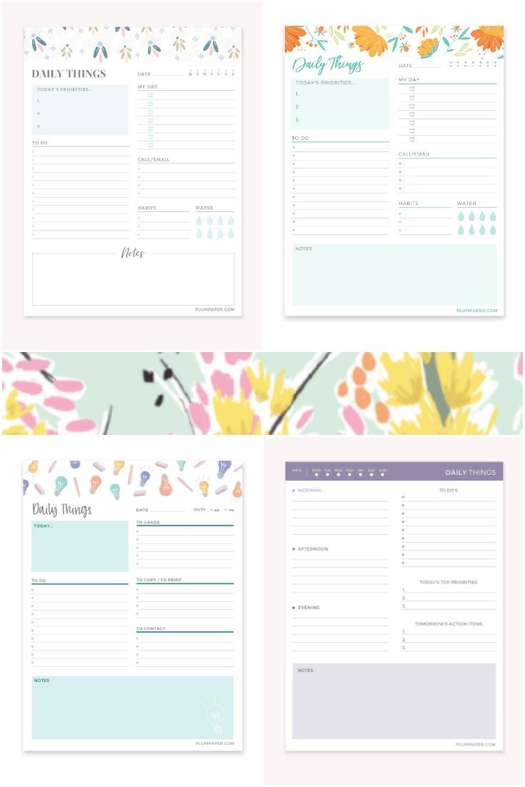 plum paper notepads, daily calendar notepads