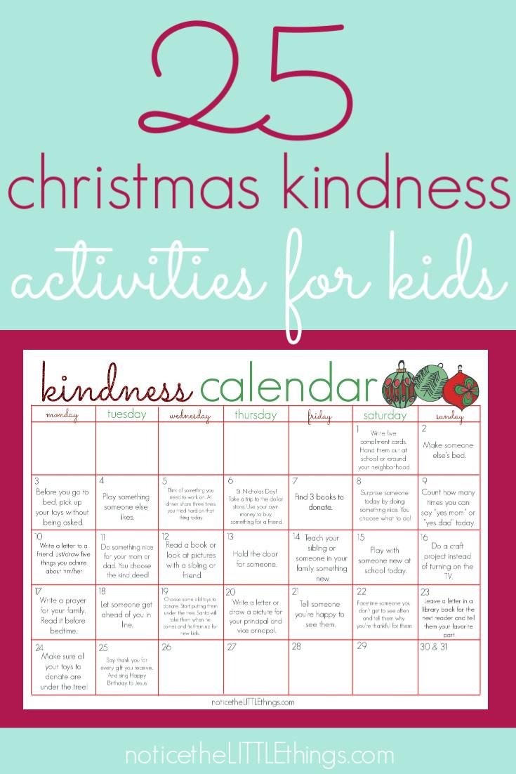 kindness activities calendar for kids