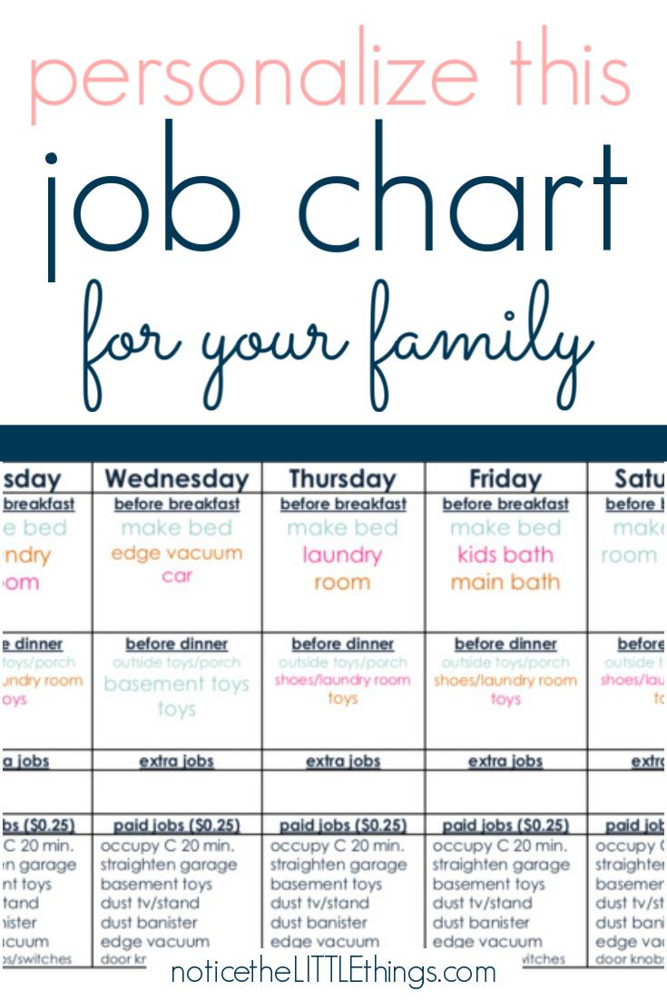 kid's job chart